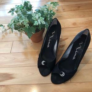 Crystal Stud Black Heels